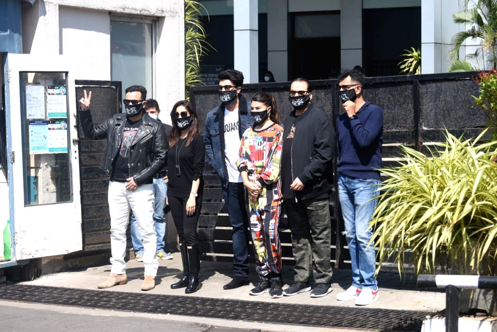 "Cast of the upcoming film ""Bhoot Police"" including Saif Ali Khan, Yami Gautam, Arjun Kapoor and Jacqueline Fernandez seen in Mumbai on Oct 31, 2020. - Saif Ali Khan and Arjun Kapoor"