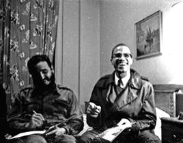 Castro with black leader Malcolm X.