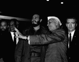 Castro with former Indian PM Jawaharlal Nehru.