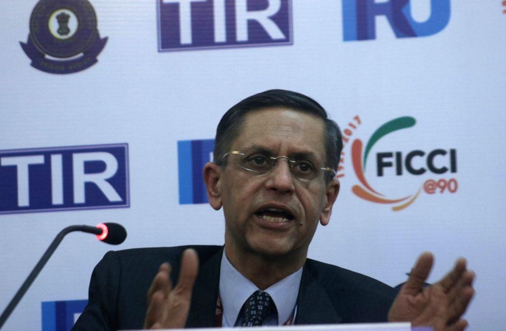 CBEC Commissioner (Customs & EP) Sandeep Kumar addresses a press conference regarding TIR System organised by FICCI, in New Delhi, on Dec 5, 2017. - Sandeep Kumar