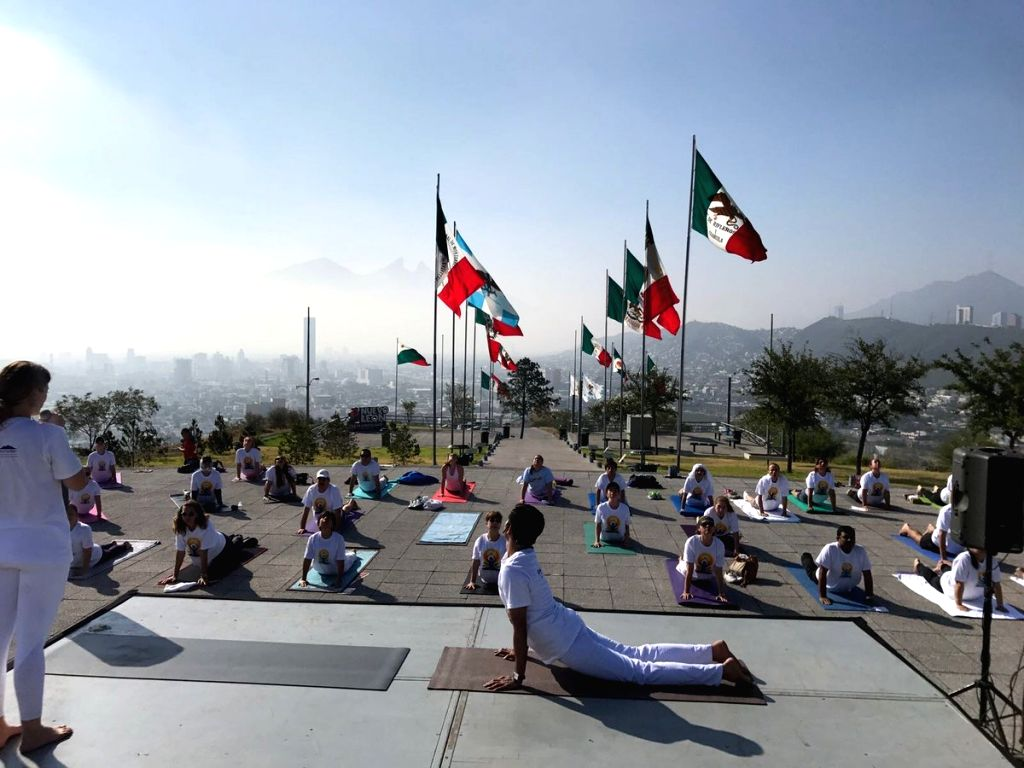 Celebration of the third International Day of Yoga underway in Monterrery of Mexico on June 20, 2017.