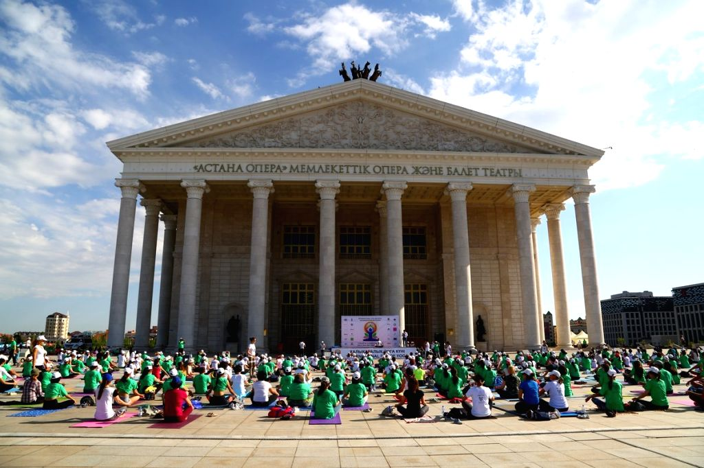 Celebration of the third International Day of Yoga underway in Astana of Kazakhstan on June 20, 2017.