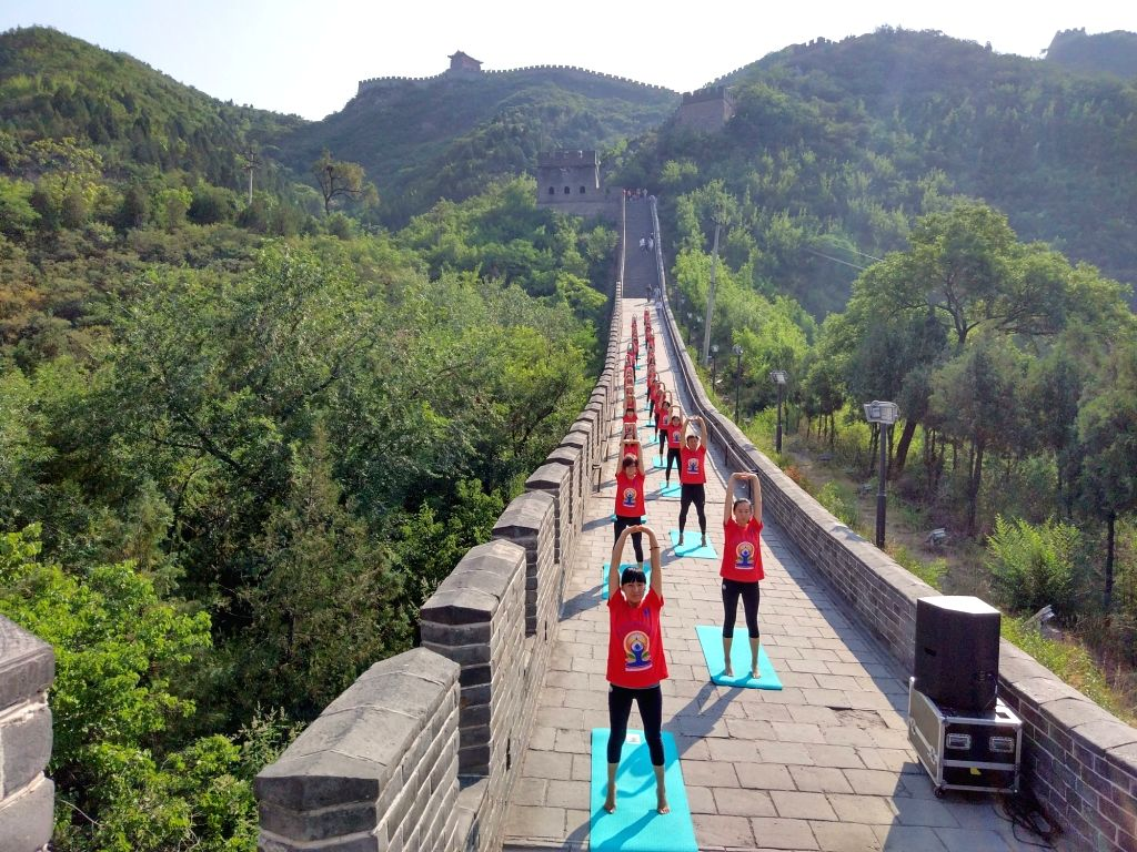 Celebration of the third International Day of Yoga underway at the Great Wall of China on June 20, 2017.