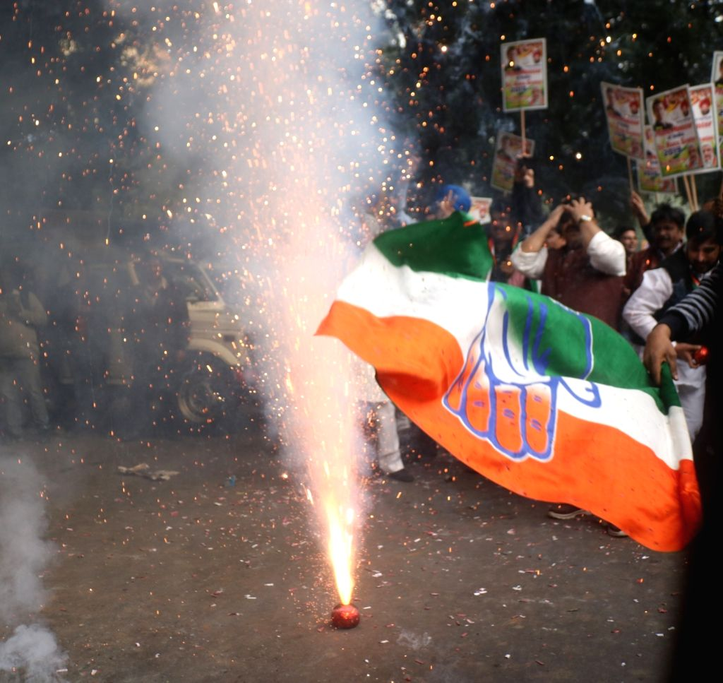 Celebrations underway at Congress headquarters as the party appeared to be on the road to victory in BJP-ruled Chhattisgarh and possibly Rajasthan and was locked in a close fight in Madhya ...