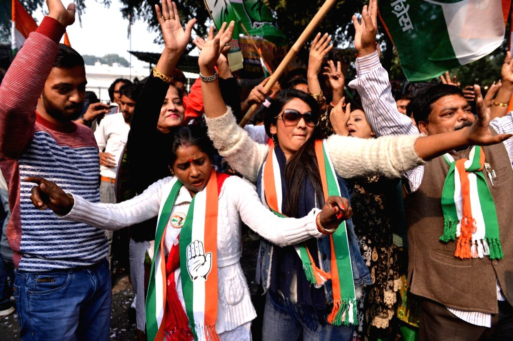 Celebrations underway at Congress headquarters as the party appeared to be on the road to victory in BJP-ruled Chhattisgarh and possibly Rajasthan and was locked in a close fight in Madhya Pradesh in ...