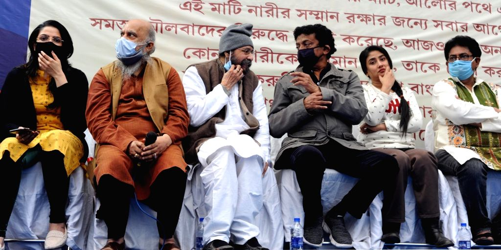 Celebrities and eminent persons took part in a rally in favor of Trinamool Congress & against BJP party in Kolkata on Jan 25, 2021.