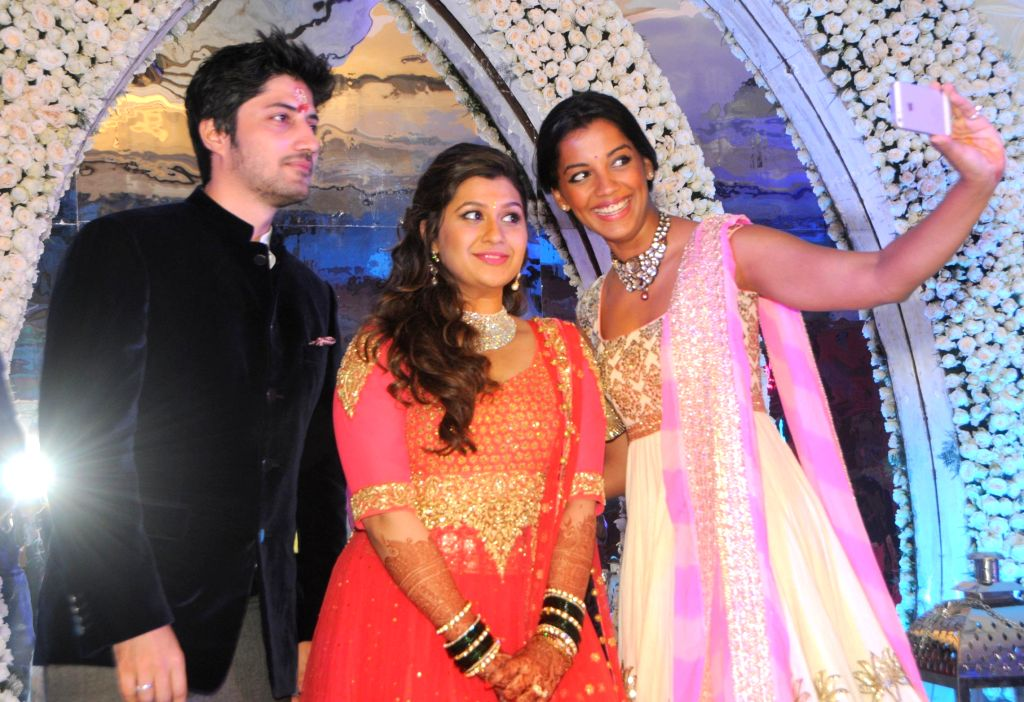 Celebs and Politicians at engagement ceremony of designer Manali Jagtap in Mumbai on September 6th, 2014.