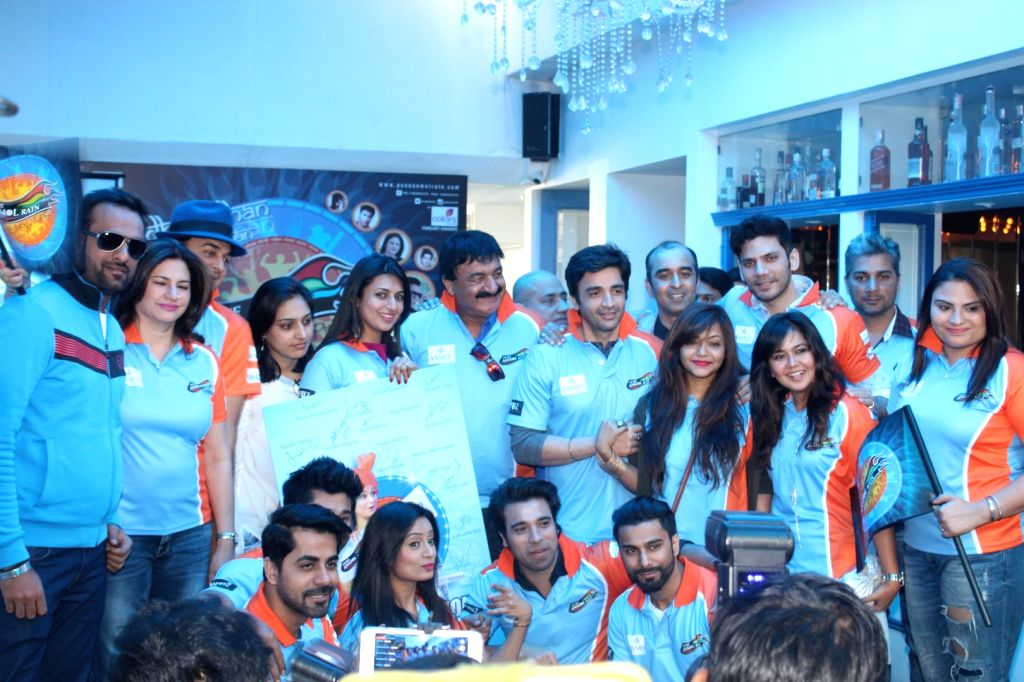 Celebs during the launch of Pune Anmol Ratn team`s Jersey in Mumbai on Jan 20, 2016.