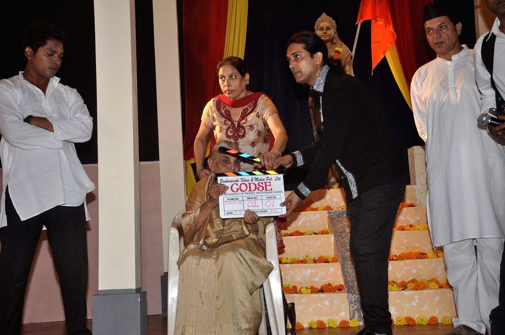 Celebs during the mahurat of film Godse, in Mumbai  Sept 11, 2014.