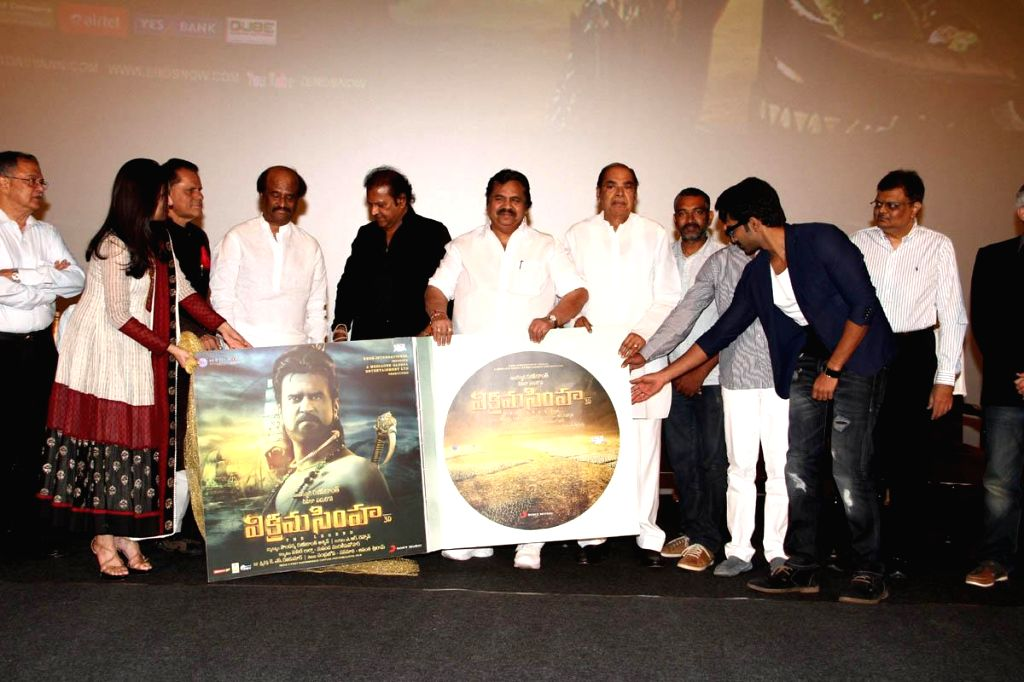 Celebs Vikrama Simha (Kochadaiyaan in Tamil) audio release function held at Imox of Hyderabad on Saturday night.