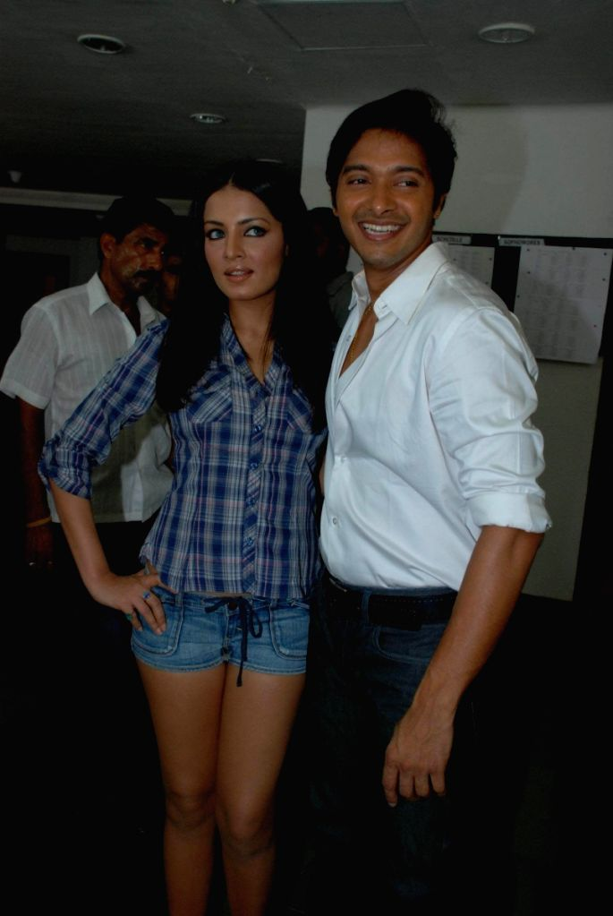 Celina Jaitly and Shreyas Talpade at the film 'Paying Guest' music launch at Whistling Woods International auditorium at Filmcity, Goregaon, Mumbai.