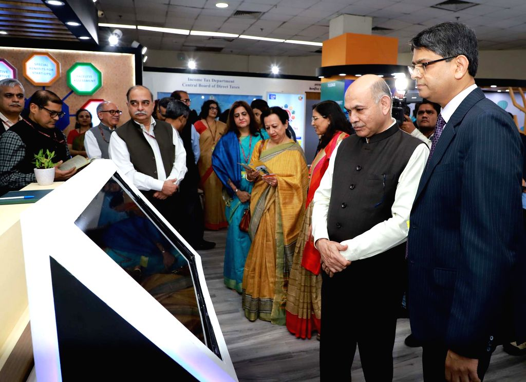 Central Board of Direct Taxes (CBDT) Chairman P.C. Mody visits after inaugurating the Taxpayers Lounge at Pragati Maidan in New Delhi on Nov 14, 2019.