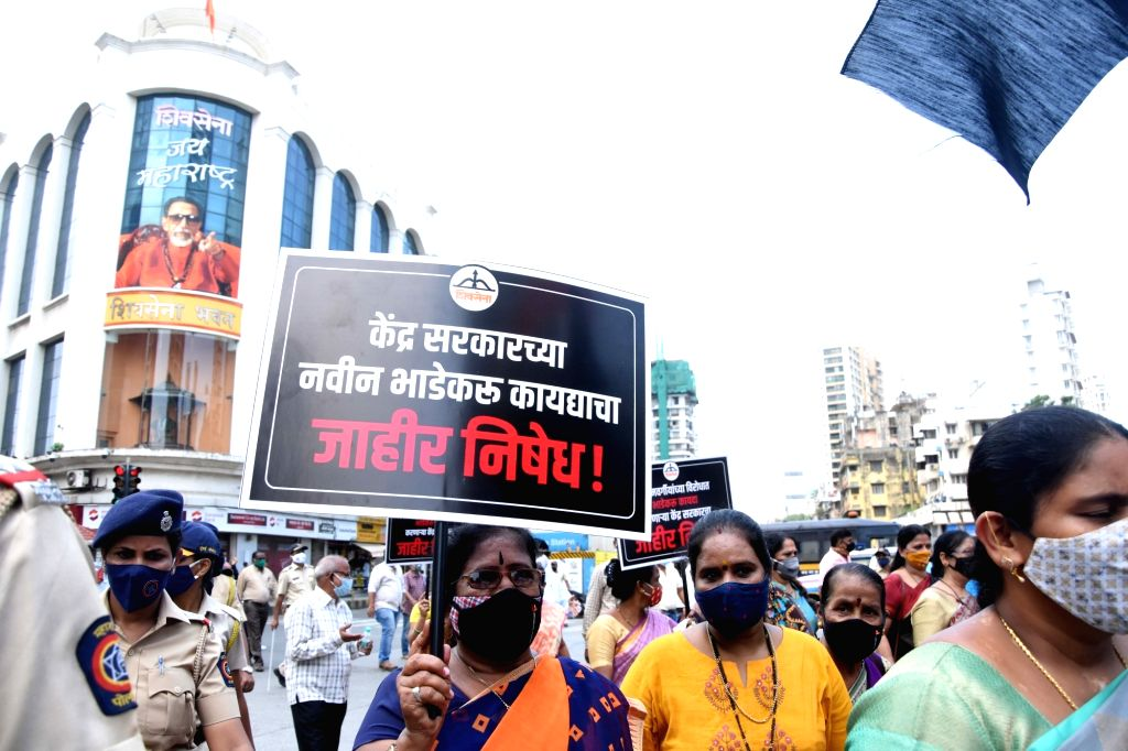 """Central Government Building owners support on Black """"Residential New Rent act"""" issue from Mumbaikars against Mumbaikars residential Peoples with Shivsena activist protest rally at ..."""