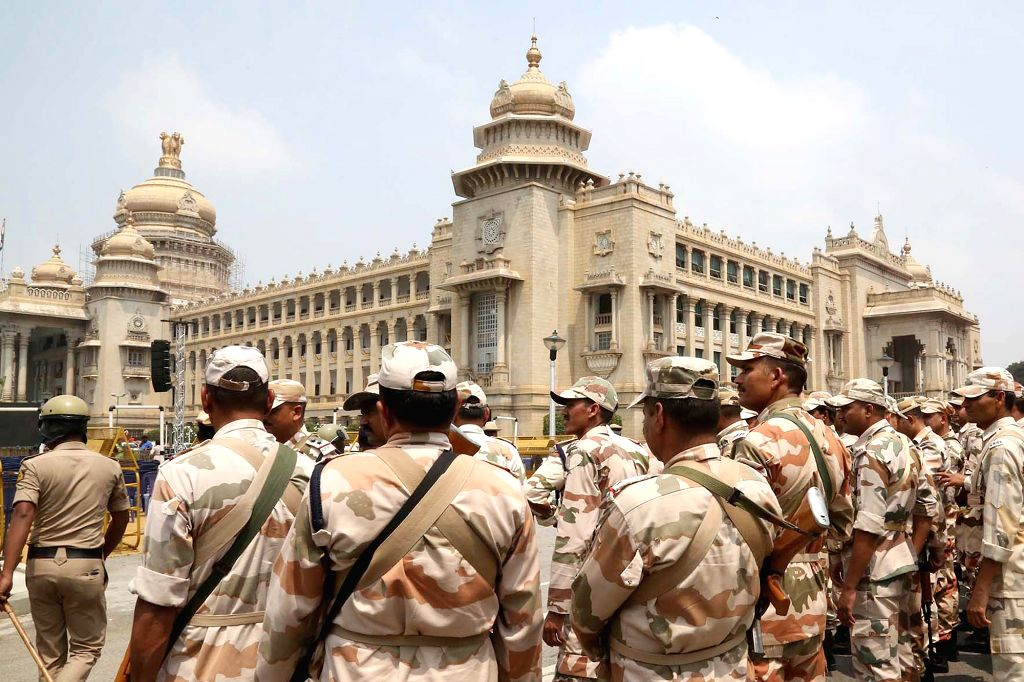 Central Industrial Security Force (CISF) personnel deployed at Vidhana Soudha ahead of Janata Dal-Secular (JD-S) leader H.D. Kumaraswamy's swearing-in as the 25th Chief Minister of ...