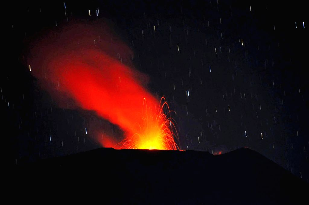 Picture taken on Aug. 23, 2014 shows Slamet Volcano erupting in Central Java, Indonesia. There are no human settlements within a radius of 4 km from the ...
