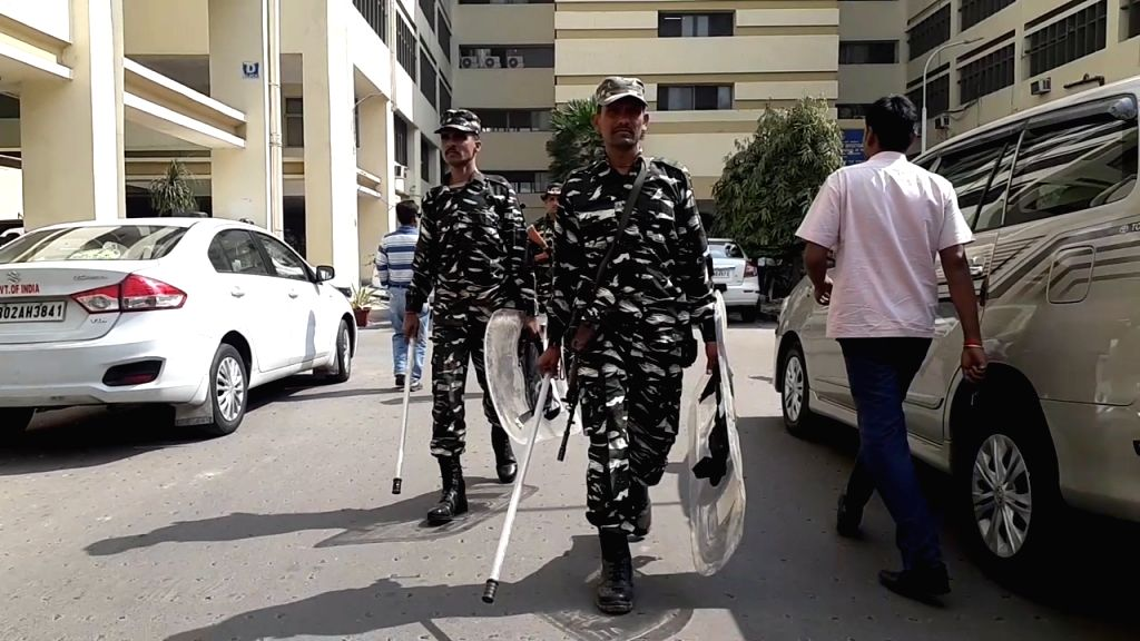 Central Reserve Police Force (CRPF) personnel deployed at the CBI office in Kolkata, on Feb 4, 2019.