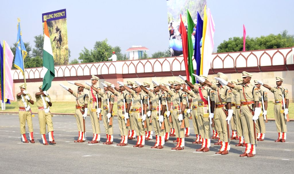 Central Reserve Police Force (CRPF) recruits take oath during their passing out parade at CRPF Academy in Kadarpur, Gurugram on Oct 11, 2017.