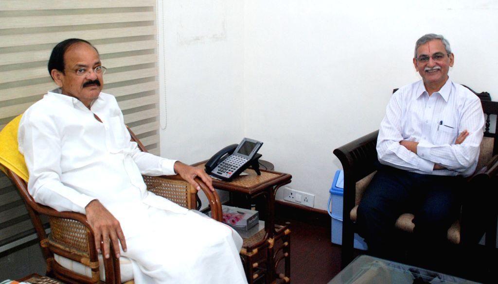 Central Vigilance Commissioner K.V. Chowdary calls on Vice President M. Venkaiah Naidu in New Delhi on Aug 17, 2017. - M. Venkaiah Naidu