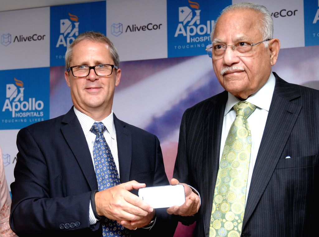 CEO of AliveCor Dr. Euan Thomson and Founder & Chairman of Apollo Hospitals Dr. Prathap C Reddy during a press conference in Hyderabad on Sept 9, 2014. - Prathap C Reddy