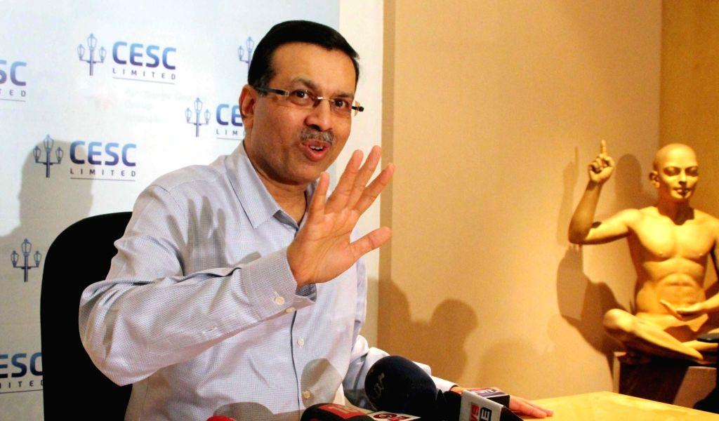 CESC Chairman Sanjiv Goenka addresses a press conference in Kolkata on Nov 13, 2015.