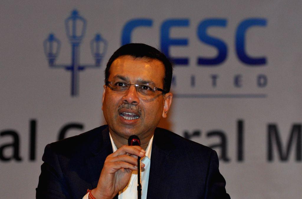 CESC Limited Chairman Sanjiv Goenka addresses during the Annual General Meeting of CESC in Kolkata on July 22, 2016. - Sanjiv Goenka