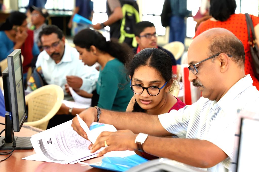 CET students and their parents at the CET cell to verify the the documents for the CET counselling, in Bengaluru on June 6, 2019.