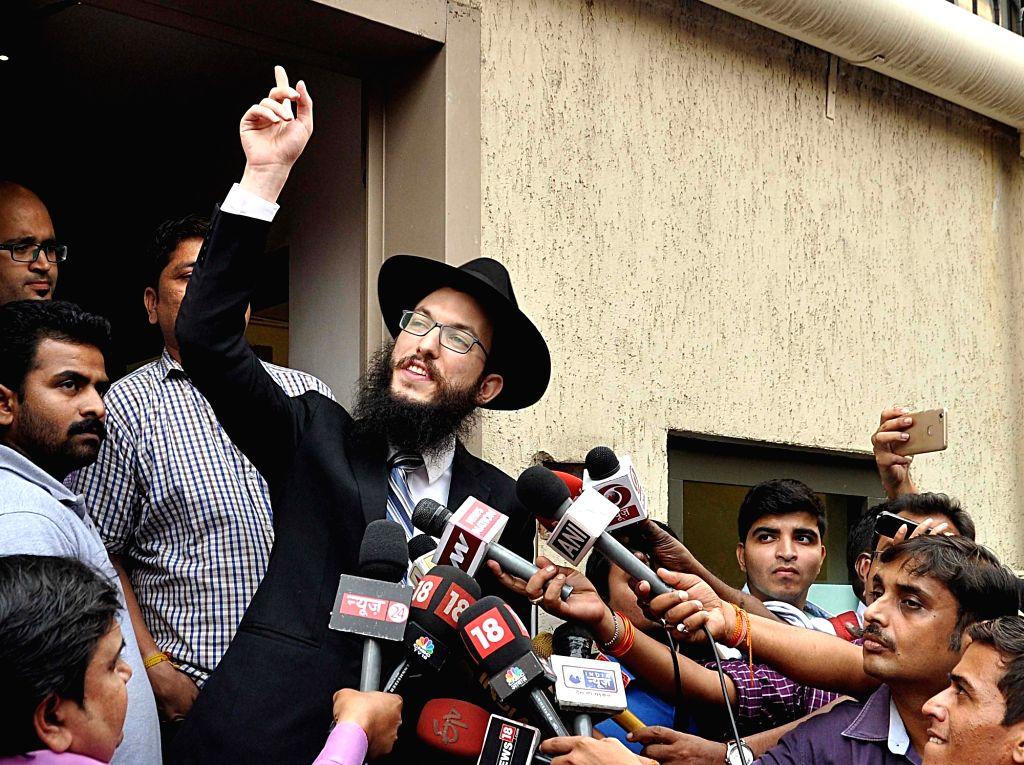 Chabad House (Mumbai) Director Rabbi Israel Kozlovsky talks to press in Mumbai on Jan 15, 2018.