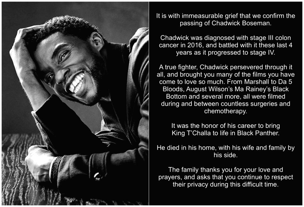 Chadwick Boseman's last post most liked tweet ever.
