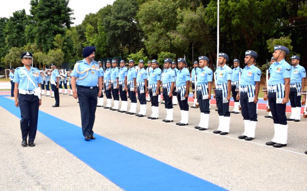 Chairman Chiefs of staff Committee and Chief of the Air Staff, Air Chief Marshal B.S. Dhanoa inspects the Guard of Honour on his arrival at the Headquarters Training Command in Bengaluru, ...