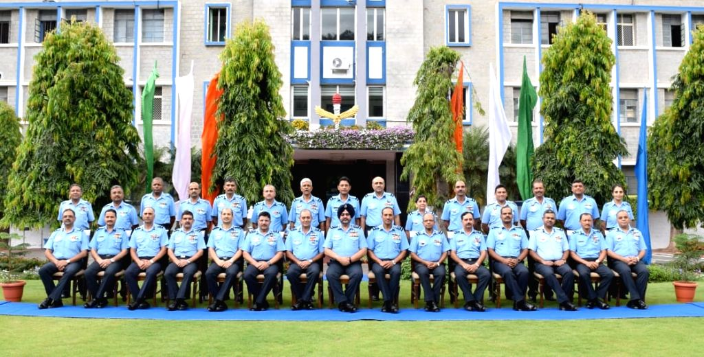 Chairman Chiefs of staff Committee and Chief of the Air Staff, Air Chief Marshal B.S. Dhanoa in a group photograph with Commanders at the Headquarters Training Command in Bengaluru, on Aug ...
