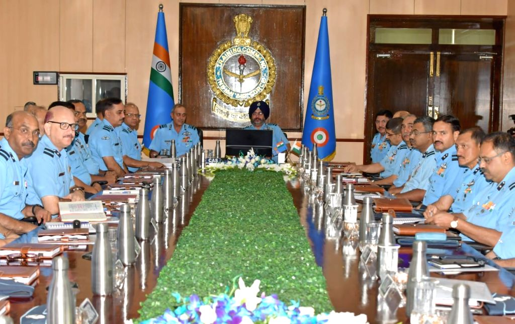 Chairman Chiefs of staff Committee and Chief of the Air Staff, Air Chief Marshal B.S. Dhanoa during a meeting with the Commanders at the Headquarters Training Command in Bengaluru, on Aug ...