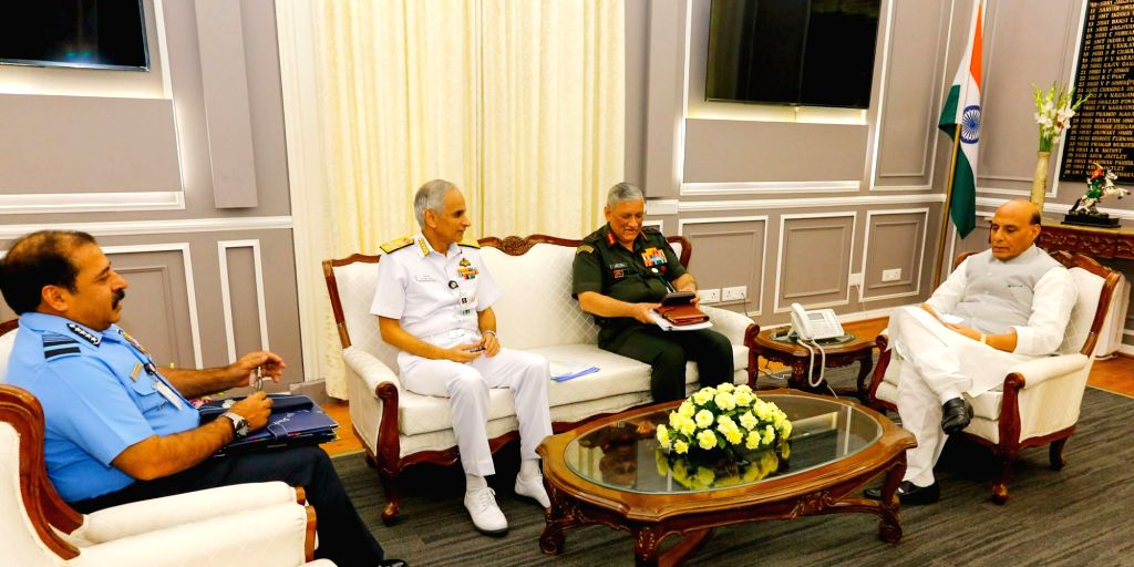 Chairman Chiefs of Staff Committee and Chief of Army Staff General Bipin Rawat, the Chief of Naval Staff Admiral Karambir Singh and the Chief of the Air Staff Air Chief Marshal R.K.S. ... - Rajnath Singh