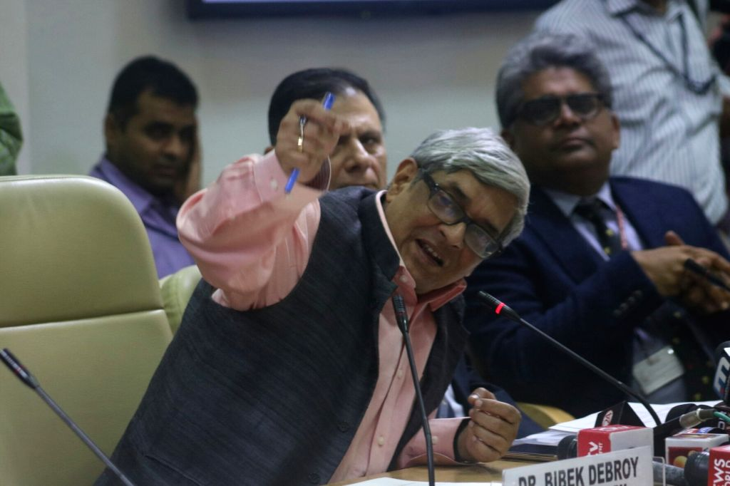 Chairman of Economic Advisory Council to the Prime Minister (EAC-PM) Bibek Debroy addresses a press conference at NITI Ayog in New Delhi, on Oct 11, 2017.