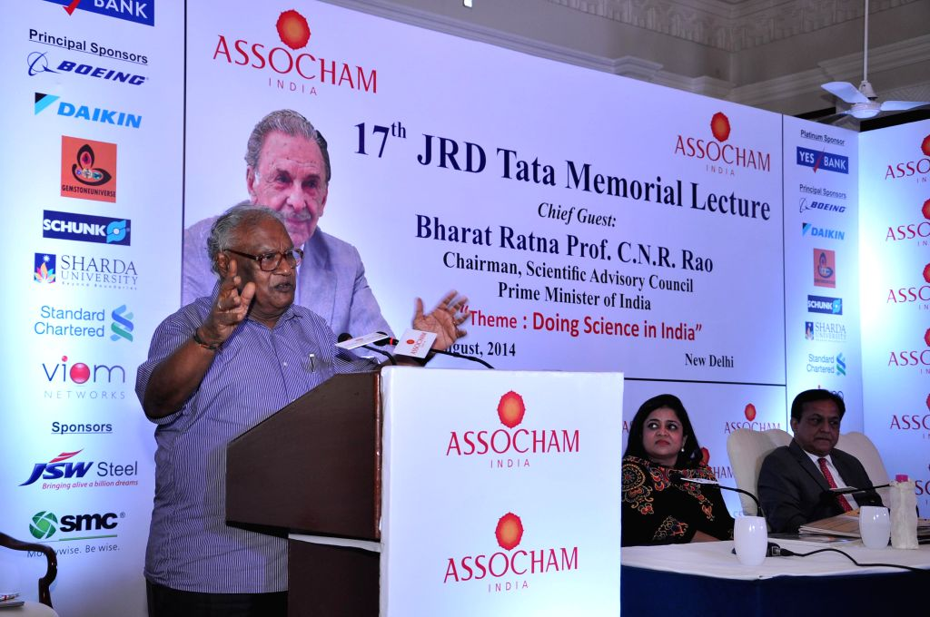 Chairman of Scientific Advisory Council of Prime Minister of India, Bharata Ratna Dr. CNR Rao addresses during the 17th JRD Tata Memorial Lecture organised by ASSOCHAM in New Delhi on Aug 5, 2014.