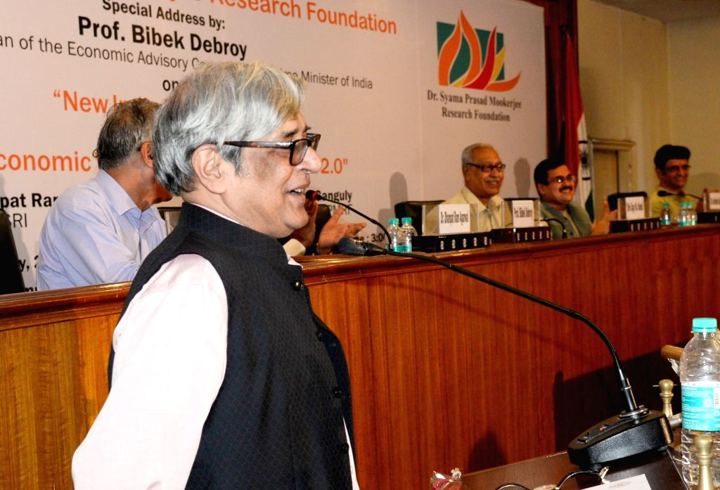 """Chairman of the Economic advisory Council to the Prime Minister of India, Prof Bibek Debroy addresses at a special session on """"New India budget 2019 and the Economic Vision of Modi ..."""