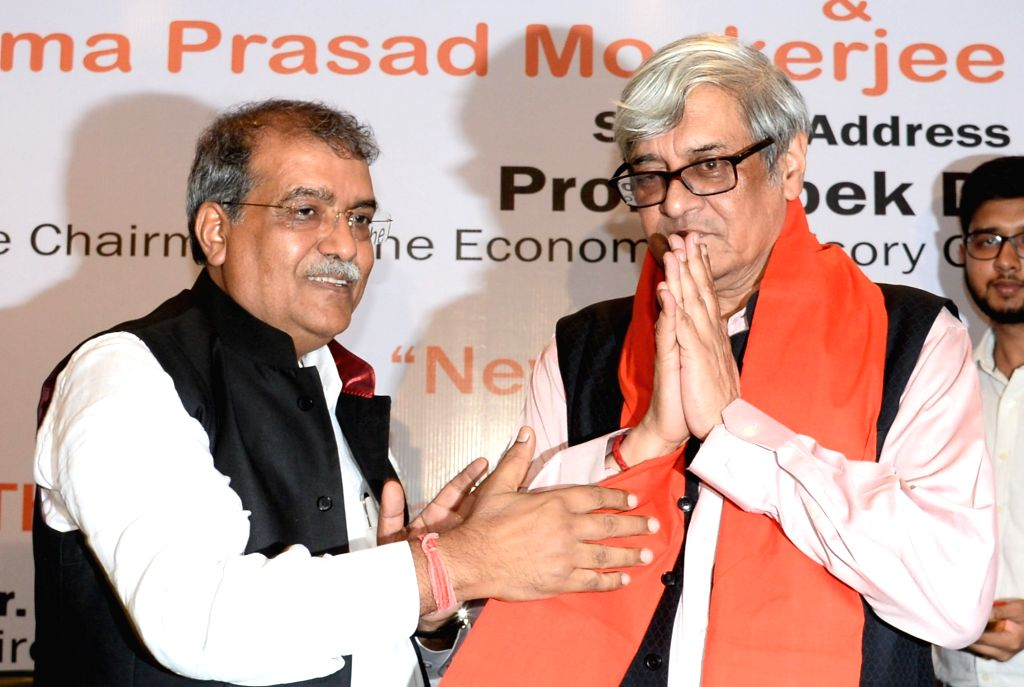 """Chairman of the Economic advisory Council to the Prime Minister of India, Prof Bibek Debroy being welcomed at a special session on """"New India budget 2019 and the Economic Vision of Modi ..."""
