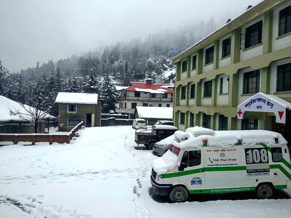 Chamba: A view of the snow-covered Holi village in Himachal Pradesh's Chamba district after heavy snowfall, on Feb 1, 2019. (Photo: IANS)