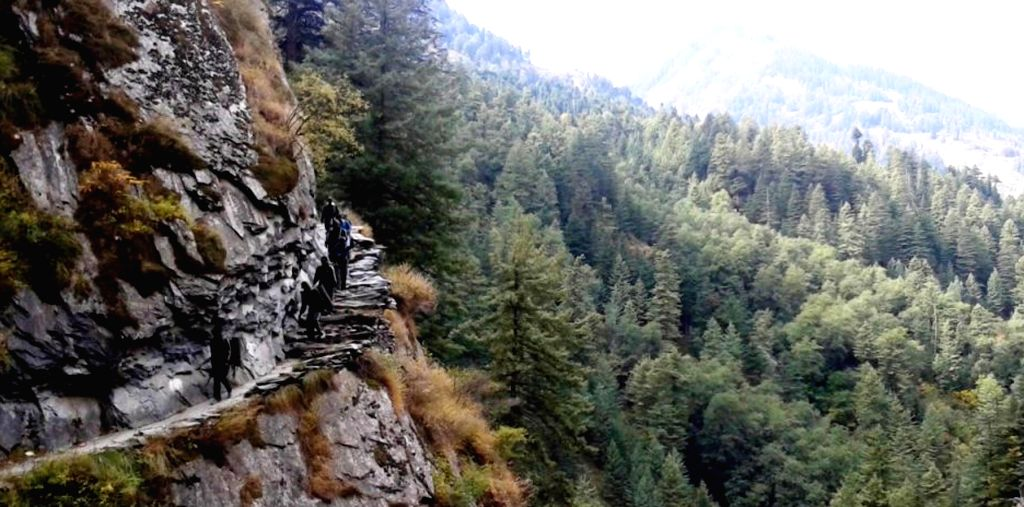 Chamba valley: A team of 3rd Battalion of Madras Regiment undertaking adventure trekking expedition from Mcleodganj to Chamba valley.