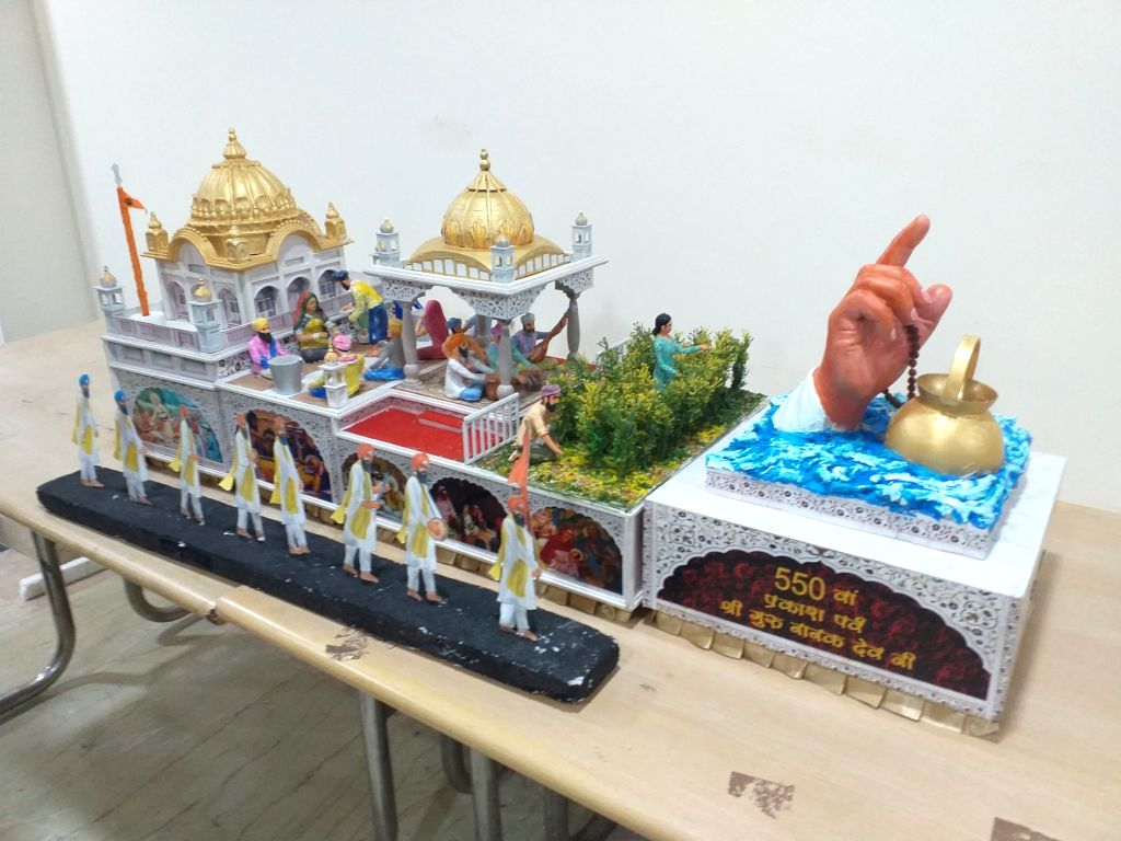 Chandigarh: A model of the official tableau of Punjab for the Republic Day parade 2020, with 'Kirat Karo', 'Naam Japo', 'Vand Chhako' being its theme. The tableau is dedicated to the ideology of the first Sikh Guru Sri Guru Nanak Dev Ji to mark the y