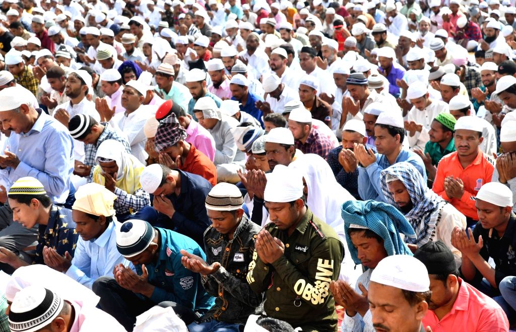 Chandigarh: Chandigarh: People offer namaz on Eid-ul-Fitr, in Chandigarh, on June 5, 2019. (Photo: IANS)