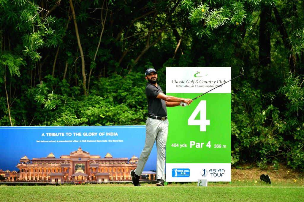 Chandigarh golfer Abhijit Chadha in action at the Classic Golf and Country Club International Championship 2019 in Gurugram on Sep 14, 2019.