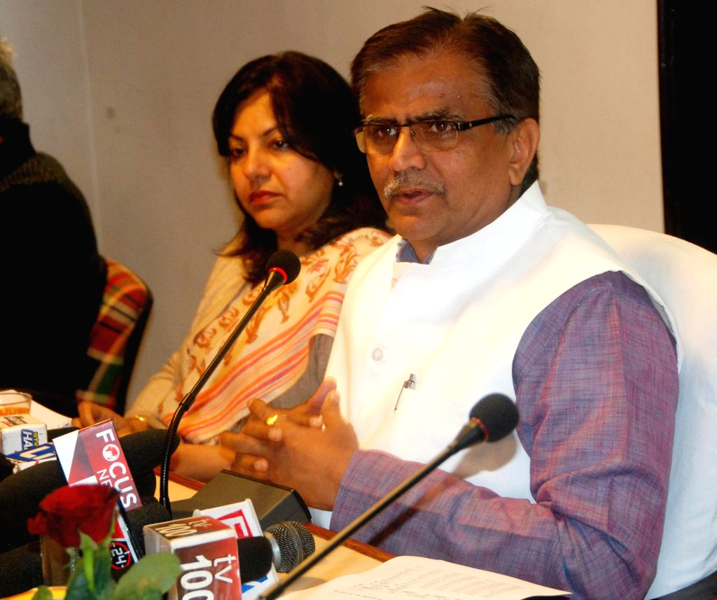 Haryana Agriculture Minister O P Dhankar addresses a press conference at Haryana Niwas in Chandigarh on Jan 9, 2015.