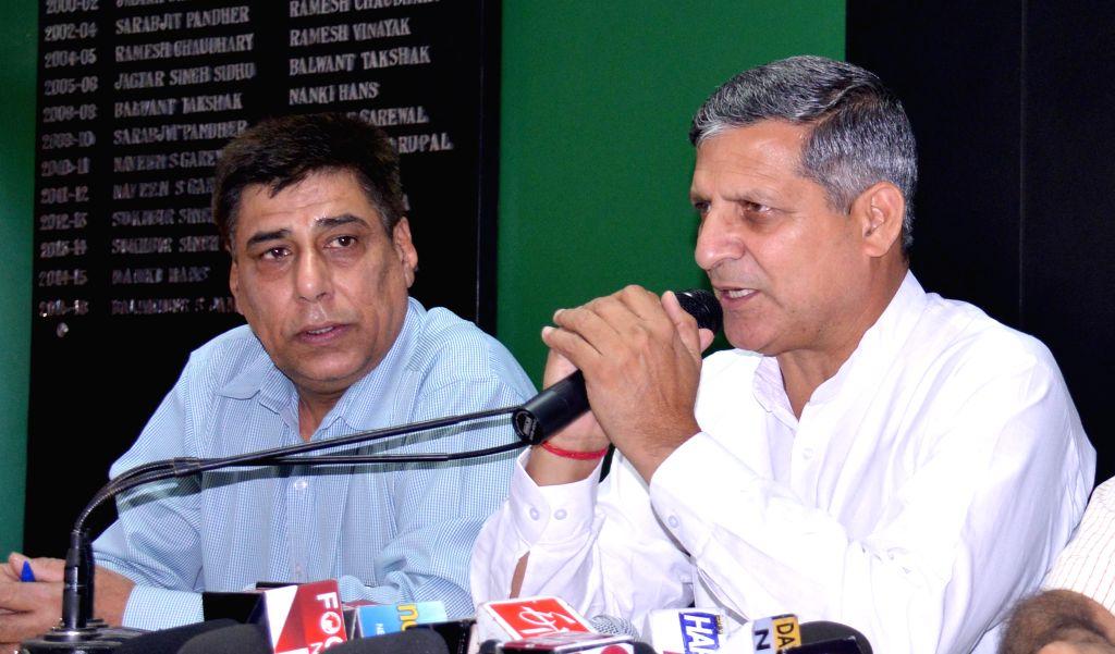 Haryana Assembly speaker Kanwar Pal addresses a press conference in Chandigarh, on May 5, 2015. - Kanwar Pal