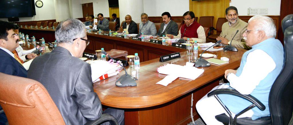 Haryana Chief Minister Manohar Lal Khattar presiding over the cabinet meeting at Chandigarh on Jan. 30, 2015. - Manohar Lal Khattar