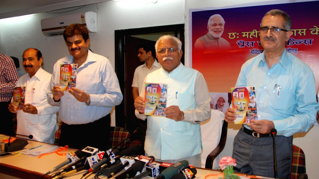 Haryana Chief Minister Manohar Lal Khattar during a press conference on six months achievements of the State Government in Chandigarh, on May 1, 2015. - Manohar Lal Khattar