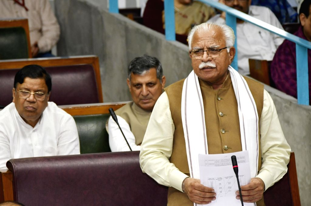 Chandigarh: Haryana Chief Minister Manohar Lal Khattar addresses during the second day of ongoing Haryana Vidhan Sabha Session in Chandigarh on Nov 5, 2019. (Photo: IANS) - Manohar Lal Khattar
