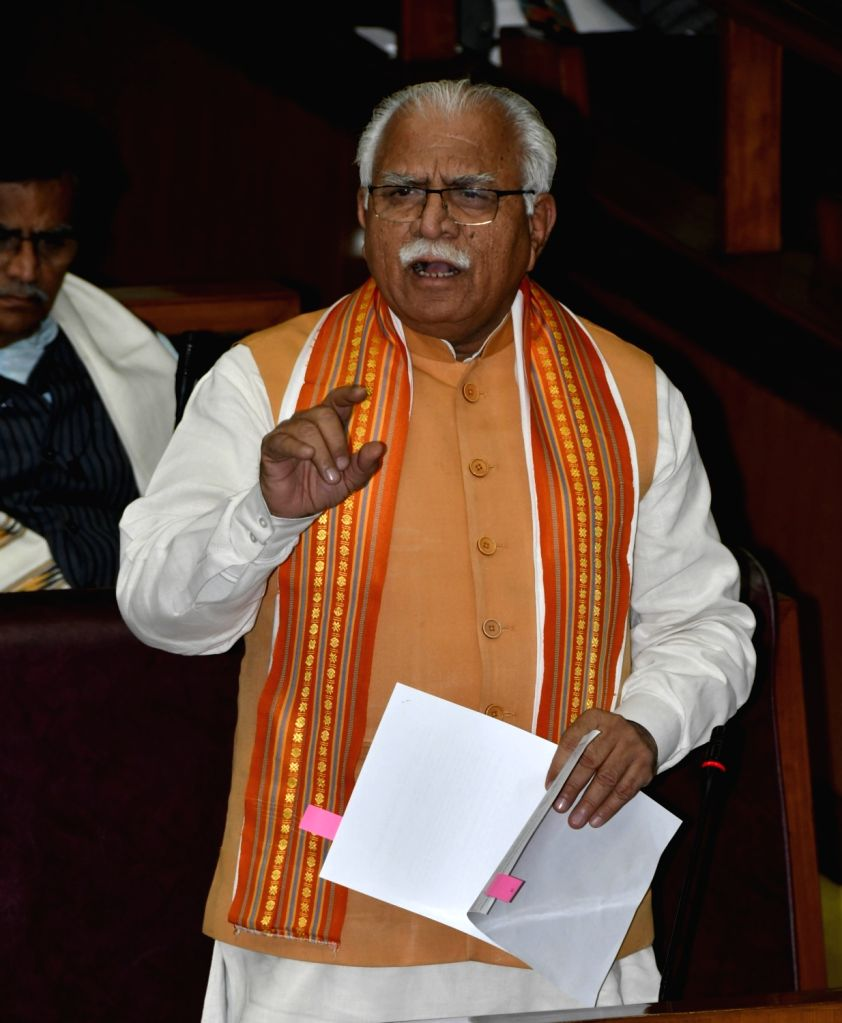 Chandigarh: Haryana Chief Minister Manohar Lal Khattar speaks during the ongoing Budget Session of state assembly in Chandigarh, on Feb 27, 2019. (Photo: IANS) - Manohar Lal Khattar