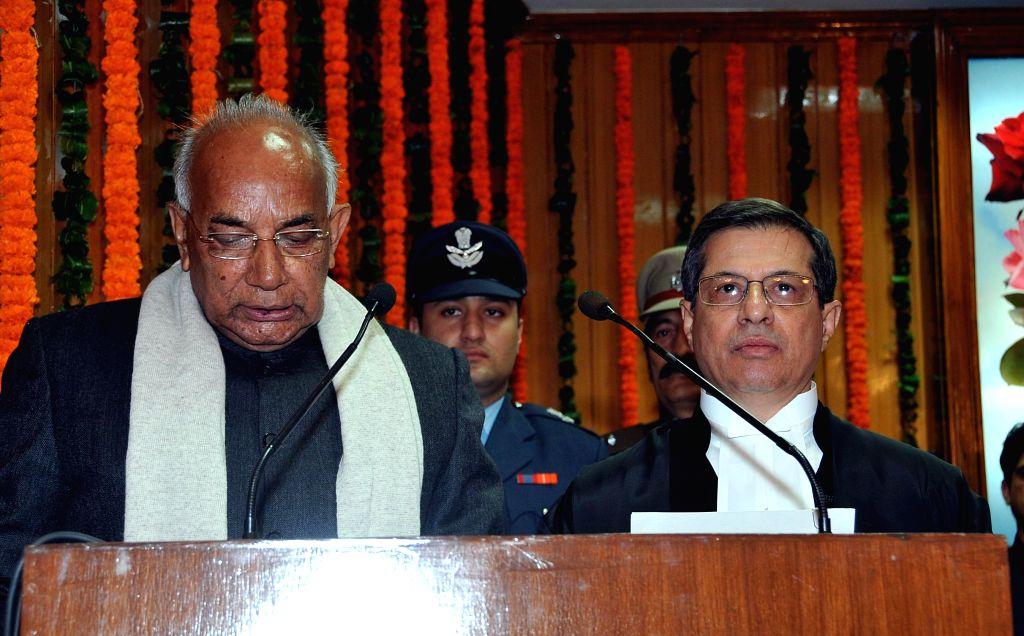 Haryana Governor Prof. Kaptan Singh Solanki takes additional charge as the Governor of Punjab at Punjab Raj Bhawan in Chandigarh, on Jan 22, 2015. - Kaptan Singh Solanki