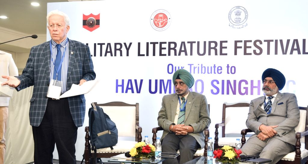 Chandigarh: Israeli Maj Gen Yossi Ben-Hanan, retired Lt Gen Iqbal Singh Singha and Lieutenant General KJ Singh during the 'Defending Against Formidable Odds: The Golan Heights, 1973' discussion on the concluding day of Military Literature Festival 20 - Iqbal Singh Singha
