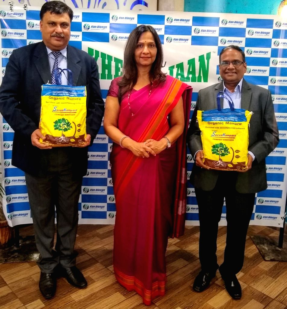 Chandigarh: Kan Biosys MD Sandeepa Kanitkar during the launch of Speed Kompost, an Eco-friendly product that tackles the problem of stubble burning, in Chandigarh on Nov 13, 2019. (Photo: IANS)